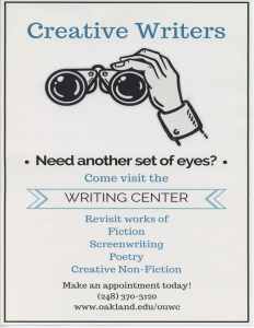 OU Writing Center Creative Writers Flier